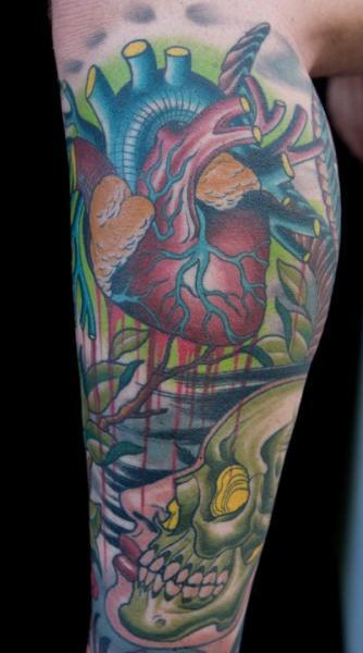 Tatuaje Ternero Corazon Cráneo por Chalice Tattoo