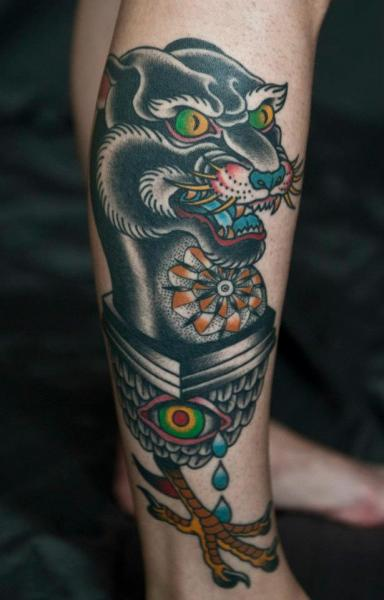 Old School Leg Panther Tattoo By Chalice Tattoo