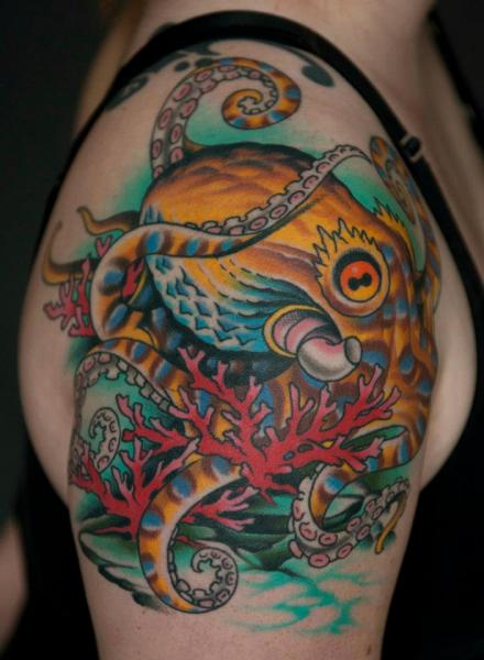 Shoulder Octopus Tattoo by Chalice Tattoo