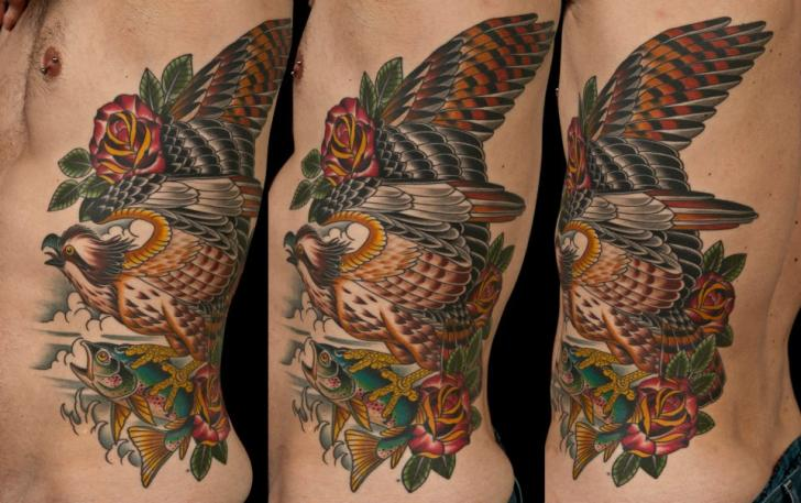 Old School Side Eagle Tattoo by Chalice Tattoo