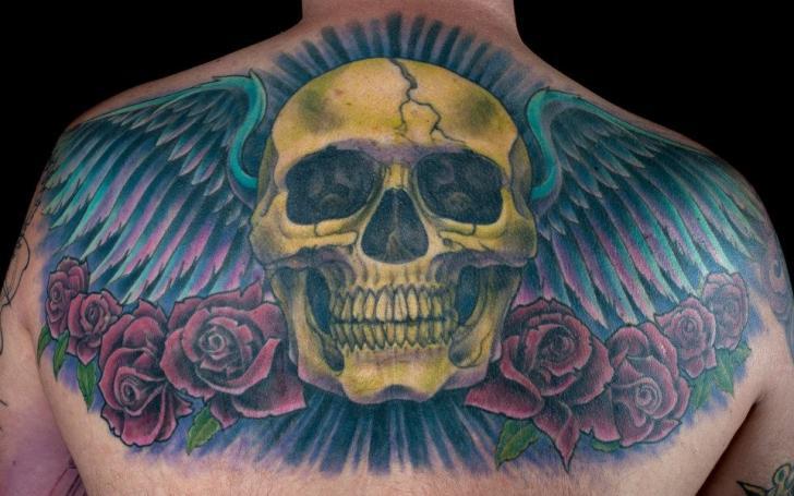 Skull Back Wings Tattoo by Dead God Tattoo