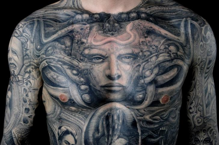 Chest Giger Tattoo by Dead God Tattoo