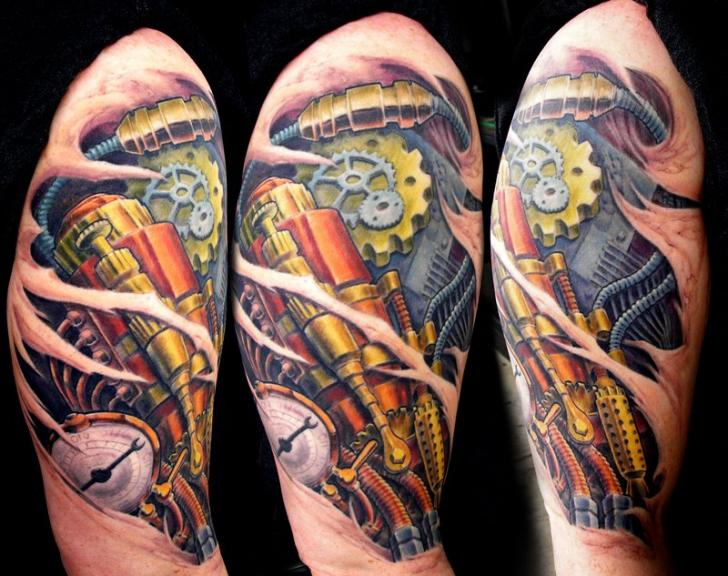 Shoulder Biomechanical Bomb Tattoo by Dead God Tattoo