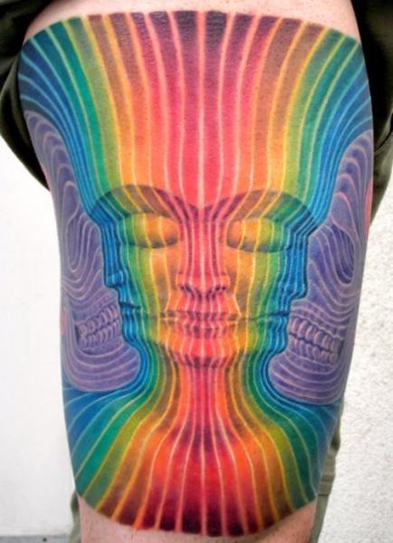 Frauen Geometrisch Oberschenkel Tattoo von Dead God Tattoo
