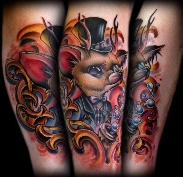 Tatuaje Brazo Fantasy Ratón por Kelly Doty Tattoo