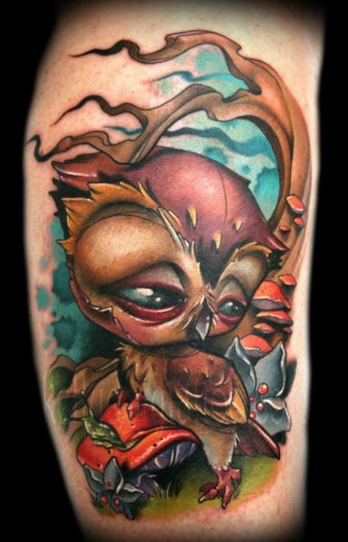 Arm Fantasy Owl Tattoo by Kelly Doty Tattoo