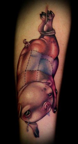 Arm Fantasy Pig Tattoo by Kelly Doty Tattoo