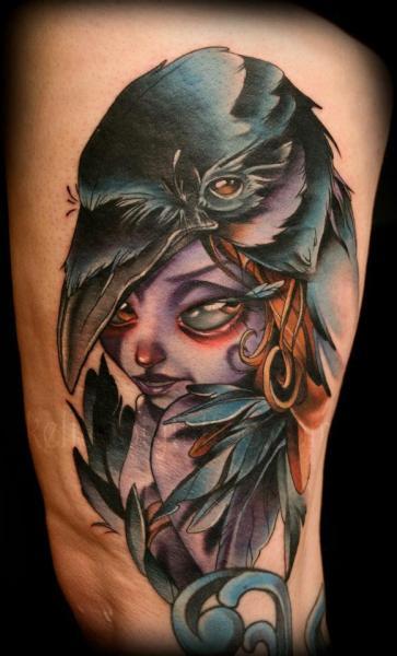 Arm Fantasy Women Crow Tattoo by Kelly Doty Tattoo