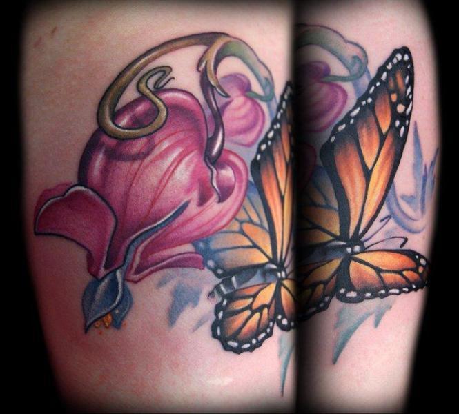 Flower Butterfly Tattoo by Kelly Doty Tattoo