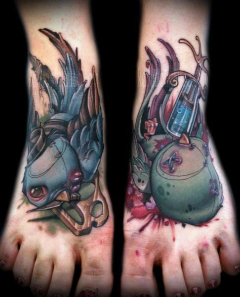 Fantasy Foot Bird Tattoo by Kelly Doty Tattoo