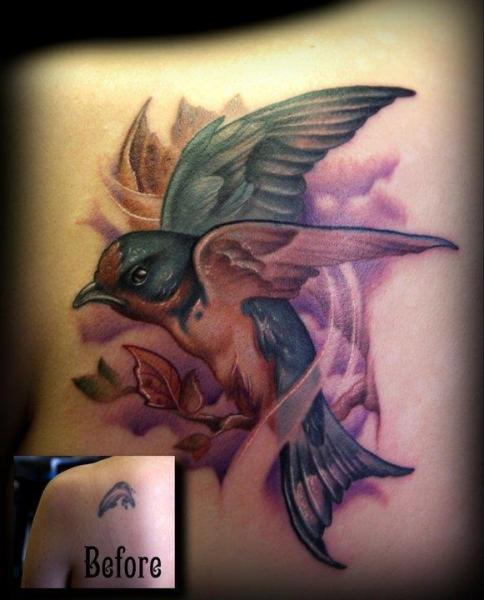 Shoulder Bird Cover-up Tattoo by Kelly Doty Tattoo