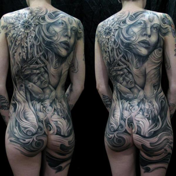 Flower Women Back Children Butt Tattoo by Mancia Tattoos