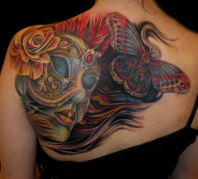 Realistic Back Butterfly Mask Tattoo by Mancia Tattoos