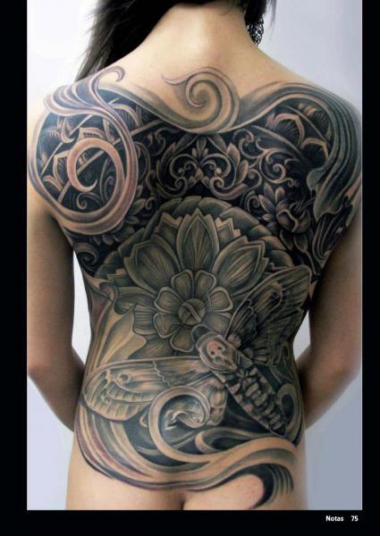 Flower Back Moth Tattoo by Mancia Tattoos