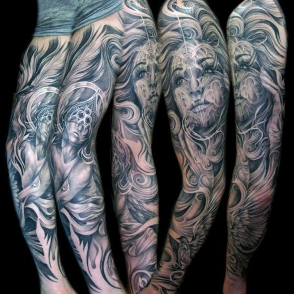 Fantasy Women Sleeve Tattoo by Mancia Tattoos