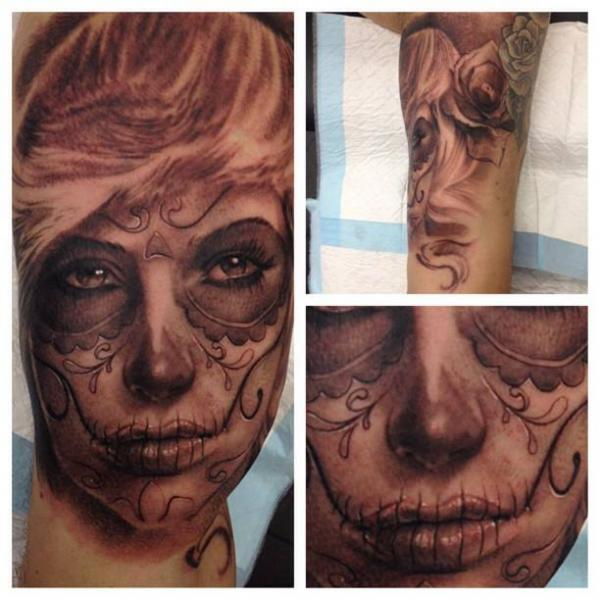Arm Mexican Skull Tattoo by LDF Tattoo