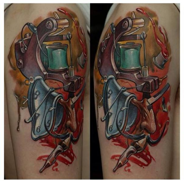 Arm Fantasy Clock Tattoo Machine Tattoo by Zoi Tattoo