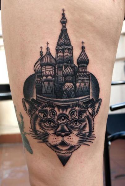 Tatuaggio Fantasy Gamba Gatto di Zoi Tattoo
