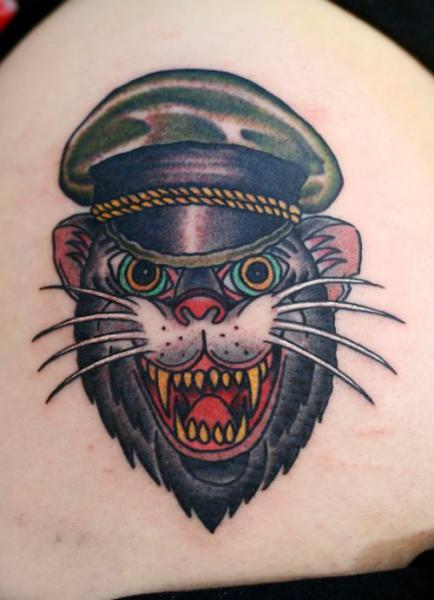 Old School Cat Tattoo by Zoi Tattoo