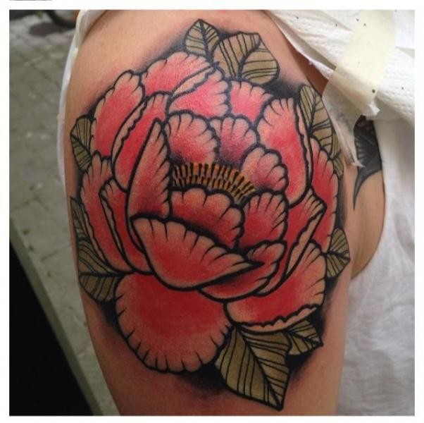 Shoulder New School Flower Tattoo by Zoi Tattoo