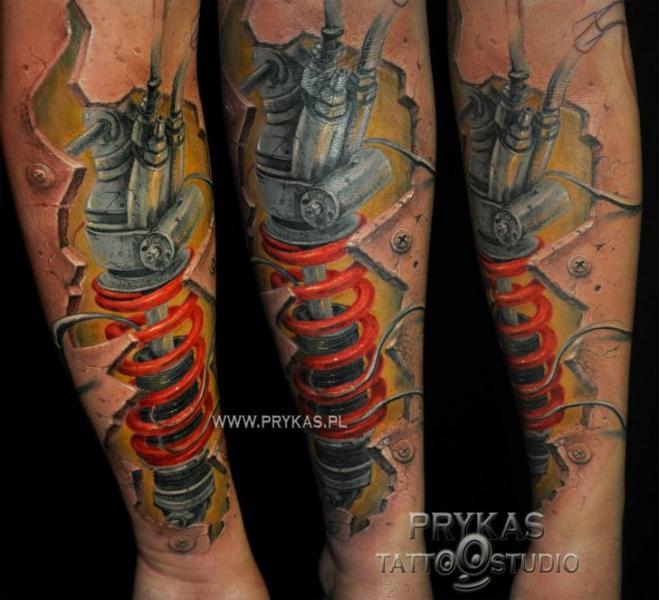 Arm Biomechanical 3d Tattoo by Prykas Tattoo