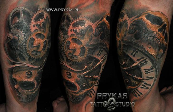 Biomechanical Gear Clock Calf Tattoo by Prykas Tattoo