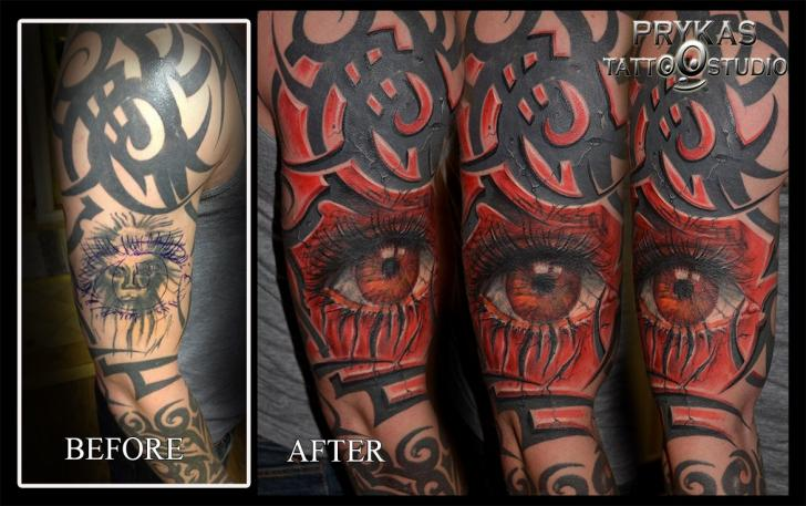 Arm Eye Cover-up 3d Tattoo by Prykas Tattoo