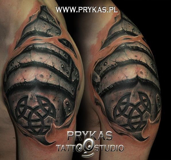 Schulter Tribal 3d Tattoo von Prykas Tattoo