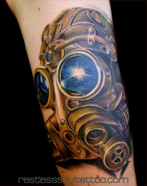 Arm Fantasie Masken Tattoo von Restless Soul Tattoo