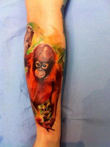 Arm Realistic Monkey Tattoo by Restless Soul Tattoo