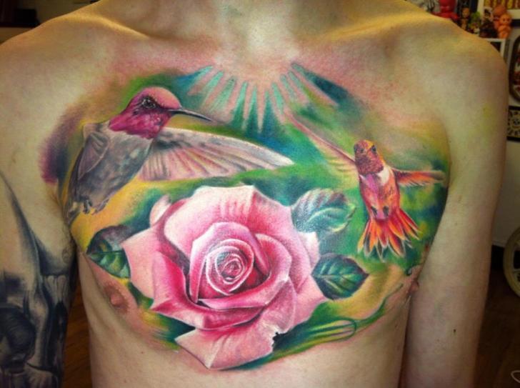 a2b74695a Realistic Chest Flower Bird Tattoo by Restless Soul Tattoo