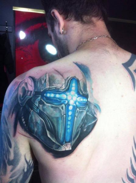 Shoulder Fantasy Robot Tattoo by Restless Soul Tattoo