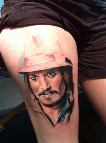 Portrait Realistic Thigh Johnny Depp Tattoo by Restless Soul Tattoo
