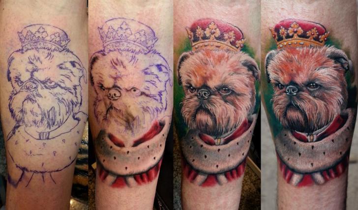 Arm Fantasy Dog Tattoo by Anabi Tattoo