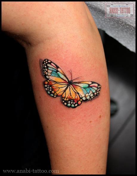 Arm Realistic Butterfly Tattoo by Anabi Tattoo
