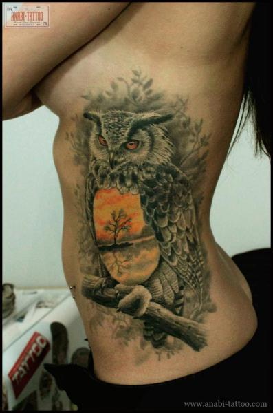 Realistic Side Owl Tattoo by Anabi Tattoo