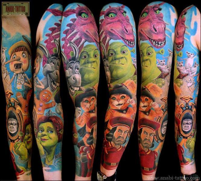 Fantasie Charakter Sleeve Shrek Tattoo von Anabi Tattoo