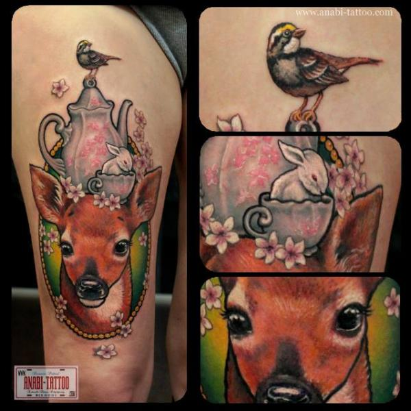 Rabbit Bird Medallion Thigh Deer Tattoo by Anabi Tattoo