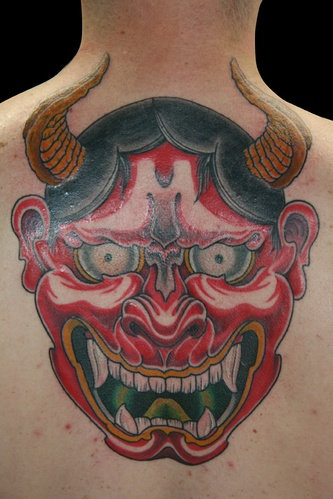 Japanese Back Neck Demon Tattoo by 25 To Life Tattoos