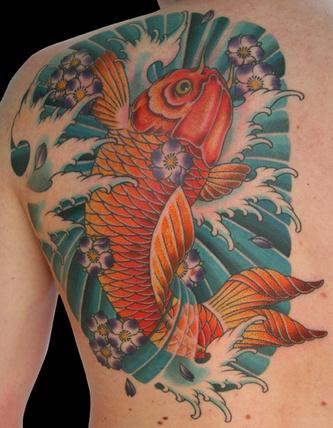 Shoulder Japanese Carp Koi Tattoo by 25 To Life Tattoos