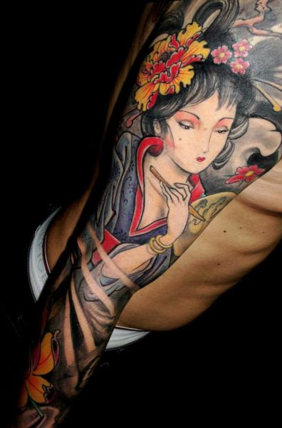 Arm Japanese Geisha Tattoo by Javier Tattoo