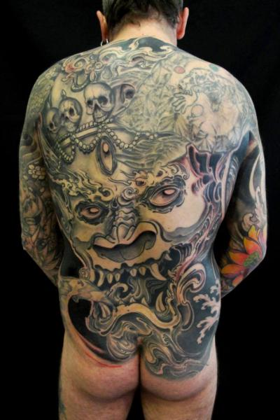 Japanese Back Demon Butt Tattoo by Javier Tattoo