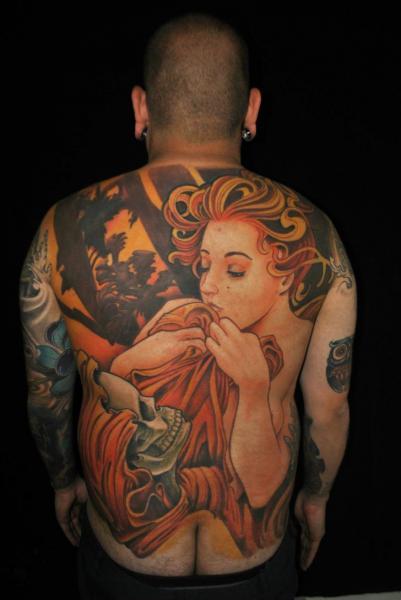 Fantasy Skull Women Back Tattoo by Javier Tattoo