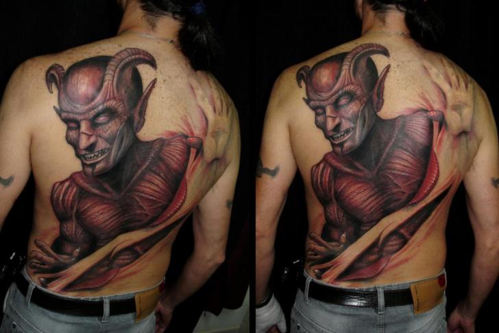 Fantasy Back Devil Scar Tattoo by Javier Tattoo