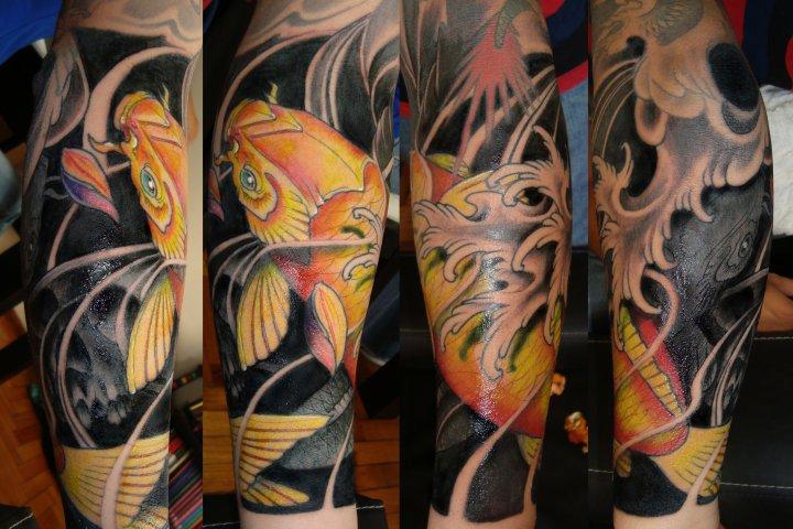 Calf Japanese Carp Koi Tattoo by Javier Tattoo