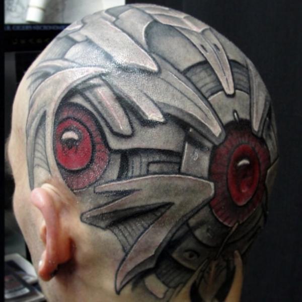 Biomechanical Head Tattoo by Javier Tattoo