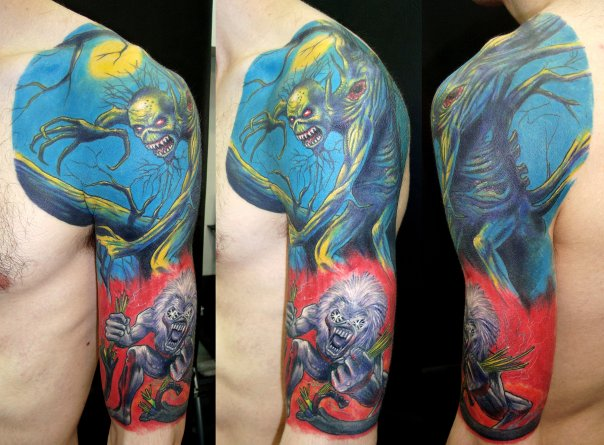 Tatuaggio Spalla Braccio Fantasy Iron Maiden di Javier Tattoo