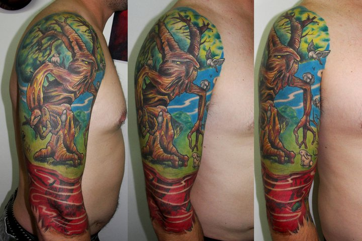 Shoulder Arm Fantasy Tree Tattoo by Javier Tattoo