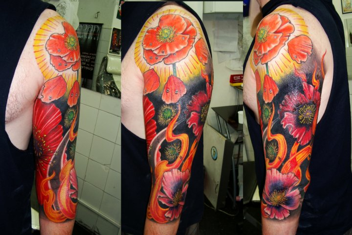 Shoulder Arm Flower Tattoo by Javier Tattoo