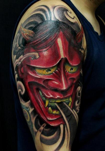 Shoulder Japanese Demon Tattoo by Javier Tattoo